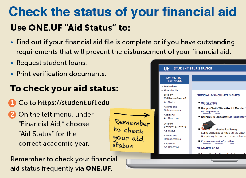 Check the status of your financial aid