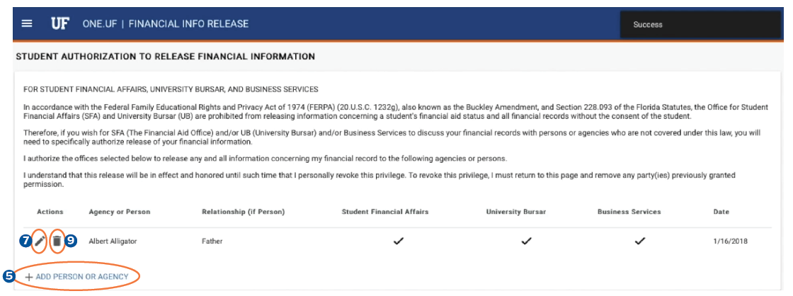 Screen shot for Financial Info Release Form